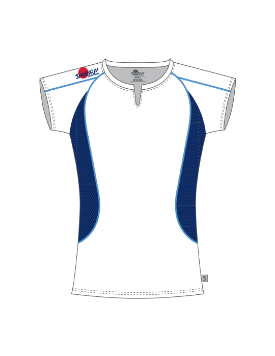 Ladies Excel Tee | White/Navy