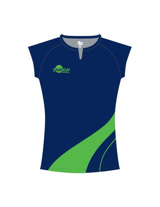 Netball Top Design 3514 | Navy/Fluro Green
