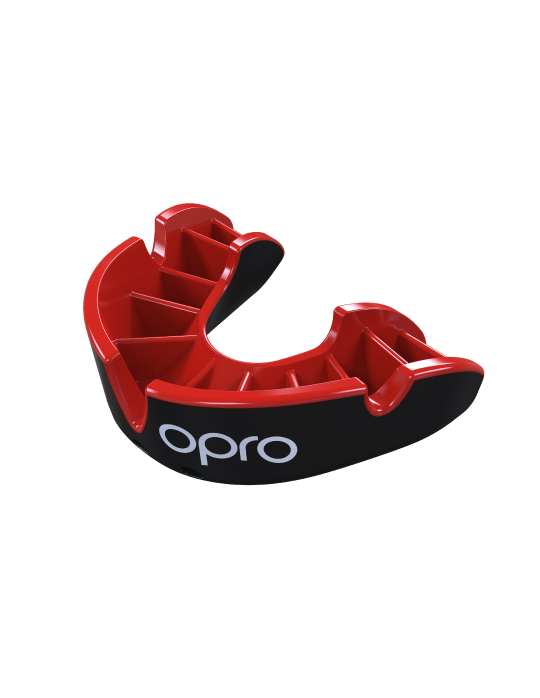 OPRO Silver Self-fit Mouthguard | Black/Red