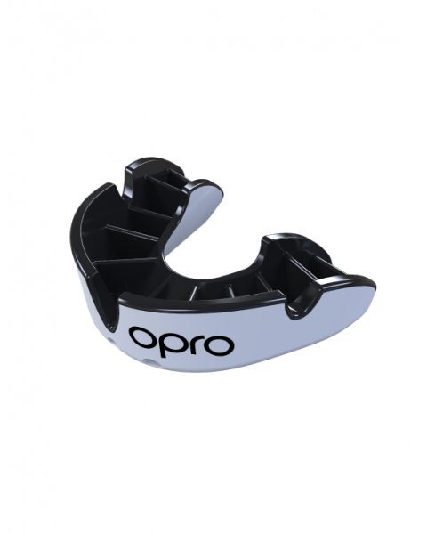 OPRO Silver Self-fit Mouthguard | White/Black